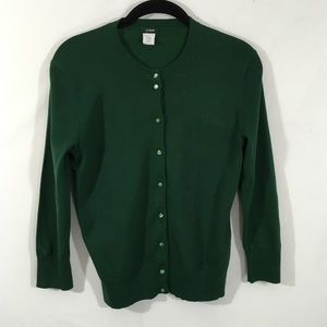 J Crew Dark Green Cardigan Sweater